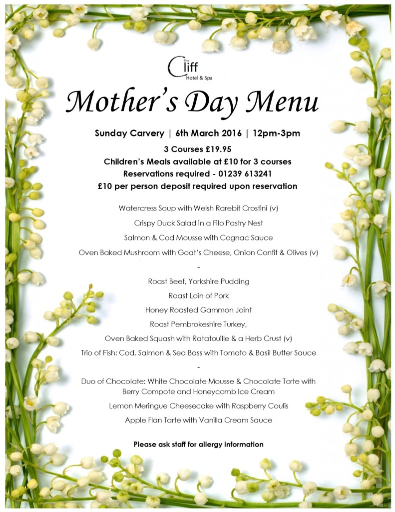 - 2016 Mother's Day Menu